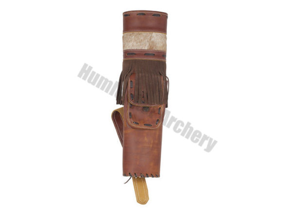 White Feather Back Quiver Storm Leather Brown-0