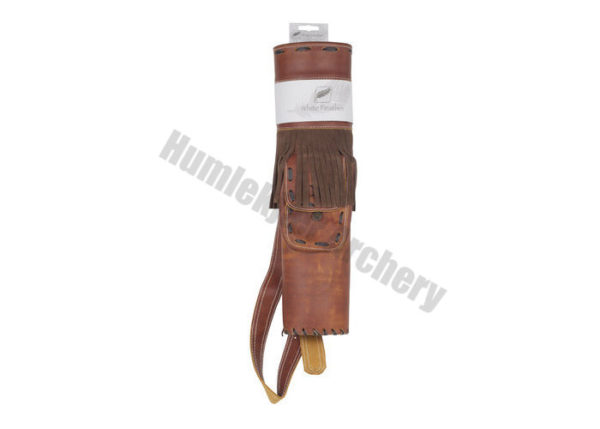 White Feather Back Quiver Storm Leather Brown-6135